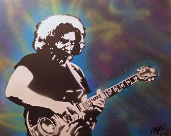 """IN STOCK SALE Large 24"""" x 30"""" Jerry Garcia and Tiger Guitar Canvas Pop Art Painting ~ Iconic Grateful Dead Musician Legend Dead Head Hippie"""