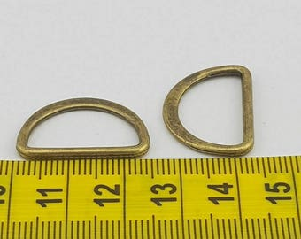 Flat D-Ring 2pk Antique Bronze  20mm