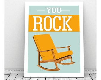 You Rock, We Rock Art, Funny Art, Mid Century Art Rocking Chair,