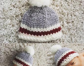 Newborn knit beanie hat with pompom,work sock style,boy,girl,pink,red,photo prop,gift idea,bonnet,knit,crochet