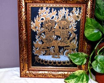 Framed, Golden Illustration of Yama, God of Death