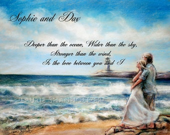 """Couple, Personalized Valentine gift, loved one, Beach Art Print  """"I Would Rather Be Here"""" Wedding, Anniversary,Laurie Shanholtzer"""