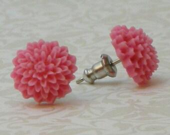 Mum Flower Earrings - Pink