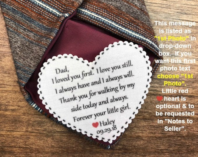 """Featured listing image: WEDDING TIE PATCH - Father of the Bride, Father of the Groom, Groom Tie Patch, Sew or Iron On, 2.25"""" Wide Heart Shaped Patch, Dot Border"""