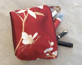 Cosmetic bag, make up bag, silk and embroidery pouch, Friends gift