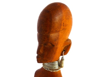 """African Statue handcarved in Kenya, Wooden African statue with wire earrings and necklace, 10"""" tall carving, Besmo tribal art"""