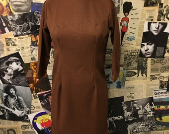 Vintage 1960s Tunic Dress Brown Waffle Long Sleeve Mod Size UK 10 approx Free UK & Cheap Worldwide Postage