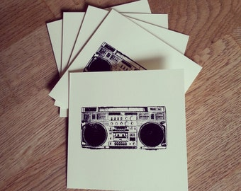 Set of 5 Hand-stamped Boombox 4 x 4 inch ivory square notecards with envelopes