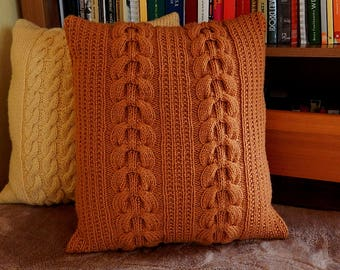 Brown cable pillow cover