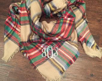Monogrammed Tan Plaid Blanket Scarf, monogrammed scarf, monogram blanket scarf, blanket scarves, blanket scarf, blanket scarf with monogram