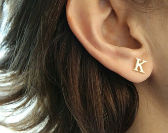 Initial Stud Earrings-Gold Earrings-Personalized Gold Initial Jewelry-Personalized Bridesmaid Earrings-Personalized Letter Earrings