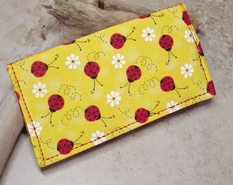 Checkbook Cover, Checkbook Wallet, Lady Bug Fabric, Check Book Organizer, Country, Kitsch, Cottage Chic, Yellow, Red, Billfold Wallet