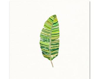Banana Leaf Watercolor Print. Botanical Wall Art. Tropical Wall Art. Green Leaf Watercolor Painting. Modern Boho Chic Art. House Plant Art.