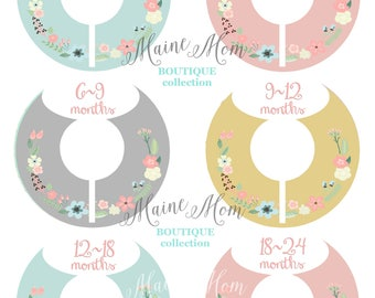6  FULLY ASSEMBLED  Baby  Girl Closet Dividers, Baby Shower  Floral Nursery Decor