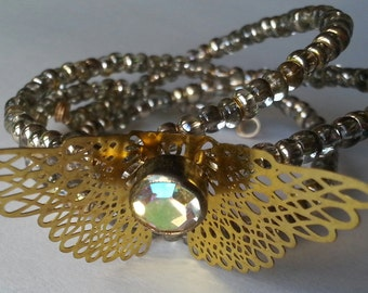 Gold Vintage Butterfly Wrap Bracelet