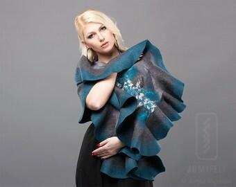 Felt Scarf - Wavy ruffled Shawl - Shiny Grey and Teal - Handmade wool and silk gift