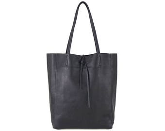 Premium Black Soft Pebbled Leather Tote Handbag with minimal branding - Handmade in Italy