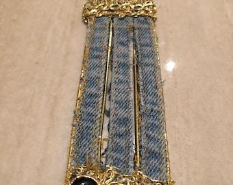 Inspired Custom Denim cuff Bracelet