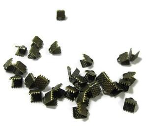 Antiqued Bronze Toned Iron Ribbon Crimps 6 mm