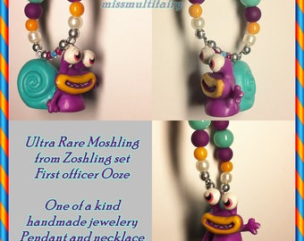Moshling necklace,Up-cycled necklace,Ultra rare moshling in zoshling set,snail First officer Ooze pendant,moshi monster