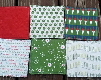 Reversible Christmas Fabric Coasters - Set of 6 Coasters - Modern Coasters - Quilted Coasters - Square Coasters