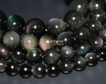 Natural AAA rainbow eye obsidian round beads full strand 8mm 10mm 12mm 14mm 16mm 18mm 20mm