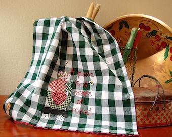 Summer Kitchen Towel - Picnic - Kitchen Decor Accessory - Farm Style Towel - Dark Green White Check - Picnic Basket Dish Towel - Tea Towel