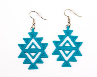 Aztec Earrings / Teal Earrings / 3D printed earrings