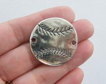 BULK 10 Baseball  ball connector charms antique silver tone SP43