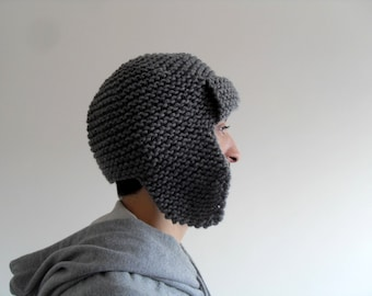 Mens Pilot Hat, Mens Hat in Grey -  Mens Knit Hat - Mens Aviator Hat - Earflap Hat - Men Fashion,Etsy Dude