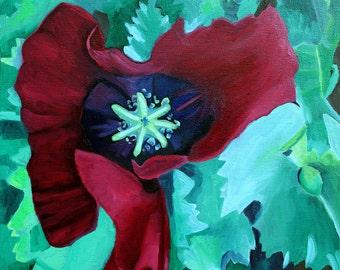 Oriental Poppy, GREETING CARD - Red Poppy art, Poppy art, Poppy painting, red and green