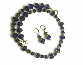 Purple Necklace, Purple Earrings, Crystal Necklace, Crystal Earrings, Plum Earrings, Plum Necklace, Purple Drop Earrings, Purple Jewelry Set