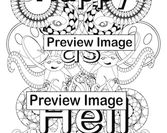 Happy As Hell Swear Word Adult Coloring Page Instant Digital Download Book For Adults