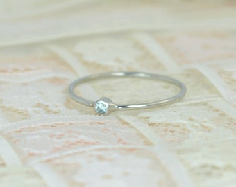 Tiny Aquamarine Ring Set, Solid White Gold Wedding Set, Aquamarine Stacking Ring, White Gold Aquamarine Ring, March Birthstone, Bridal Set