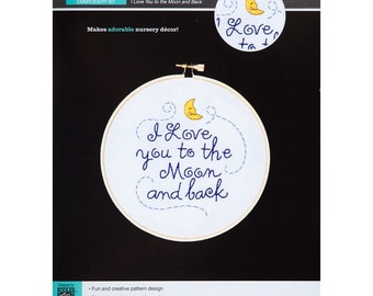 I Love You To The Moon And Back Embroidery Kit