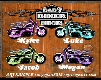 DAD'S BIKER BUDDIES Harley Inspired Biker Personalized T shirt for Dad \ Papa! Kid's Names Added Free All Sizes Sm-3XL MotorCycle Tee 4 Him