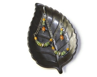 Anasazi Earrings in Emerald Valley Turquoise and Sterling Silver E101