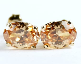 Champagne CZ, 14KY Gold Post Earrings. E002