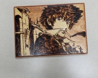 Cowboy Bebop inspired wood burned wall art