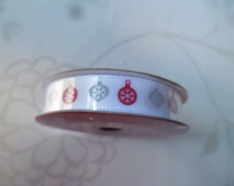 White Christmas patterned balls Christmas red/grey satin 10 mm x 3 meters of Ribbon