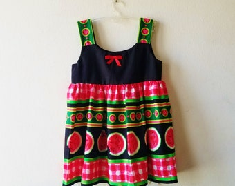 5T Ready to Ship Summer Picnic Time Watermelon Dress for Girl