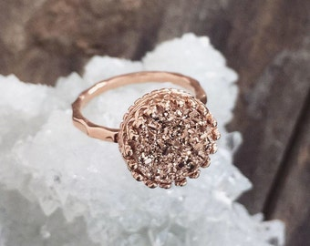 Rose Gold Druzy Ring, Titanium Drusy Quartz Ring, 18K Rose Gold Vermeil Crown Setting