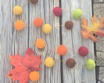 Fall / Thanksgiving Felt Ball Garland, Pom Pom Garland, Nursery Decor, Bunting Banner, Party Decor, Baby Shower