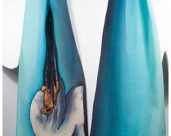 "SALE. Heron Silk Scarf. 8x52"". Hand painted silk scarf. Handpainted silk scarf. Painted silk scarves. Egret silk scarf. Turquoise silk scarf"