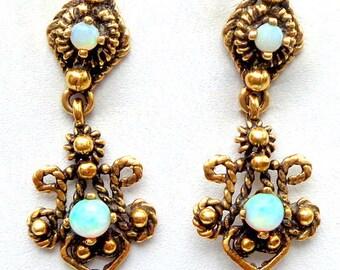 Solid 14k Gold, Antique Blue Opal Earrings, Victorian Drop Earrings, Art Nouveau, Gold Filigree, Dangle Earrings, Estate Treasure