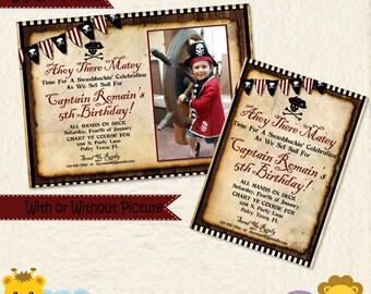Pirate Birthday Invitations, Pool Party Invitations, Pirate Invitations, Pirate Party, Pool Party Invitation, Beach Birthday Invitation, A2