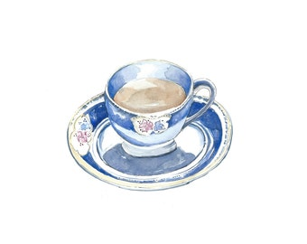 Time for Tea, Teacup Original Watercolour Painting, Teacup, Tea, Teatime art, Gift