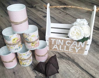 Boîte de conserve Alley - blanc   Jeu Alley Tin Can   Canettes fous   Jeu de mariage   Jeu Vintage   Party Game   Jeu de pelouse
