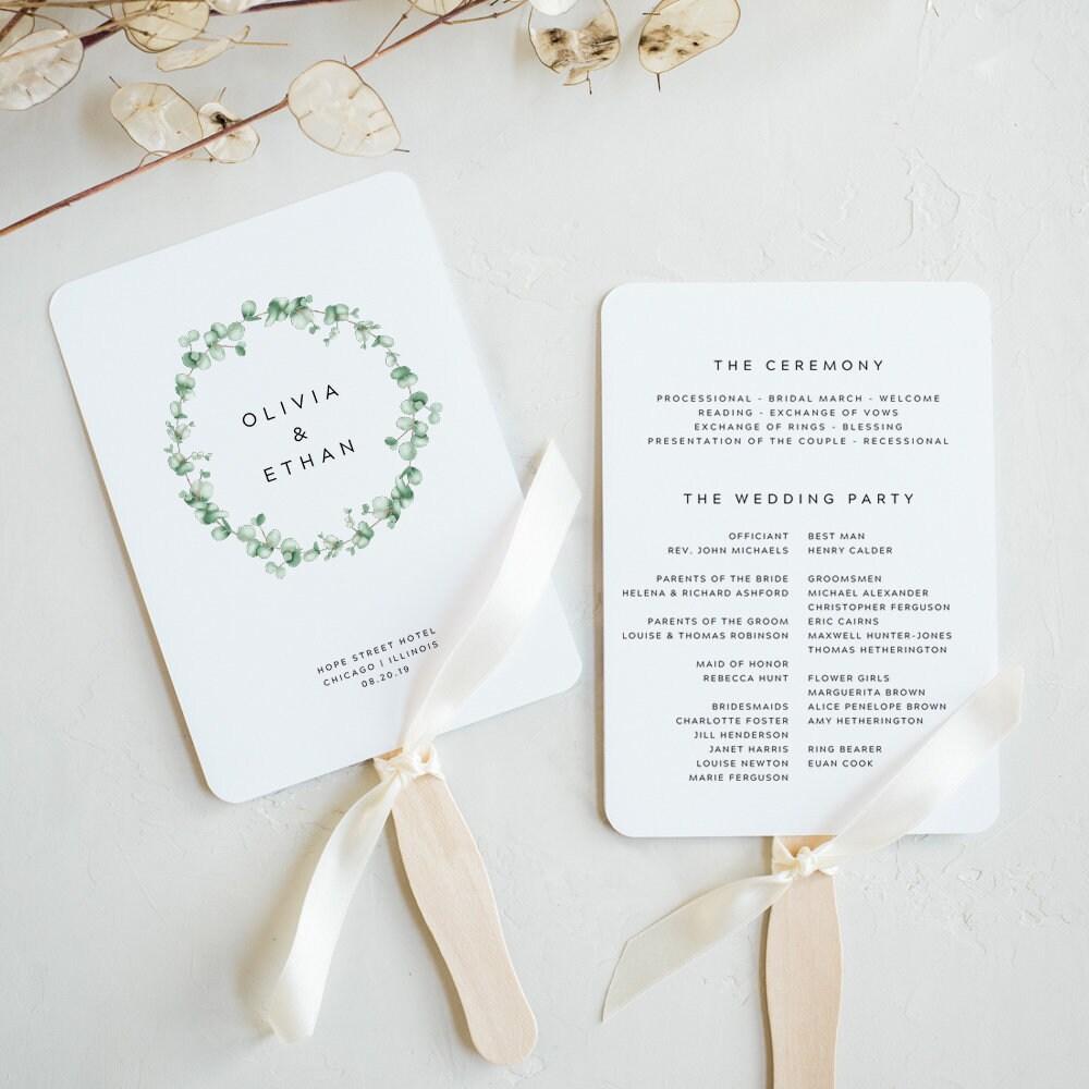 Greenery Wedding Program Fan Printable Template Wedding Fan