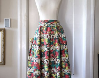 1950s Handmade Barkcloth Print Pleated Skirt M